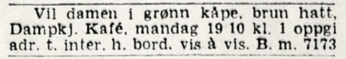 Romantikk på Christiania Dampkjøkken. Aftenposten, 1941
