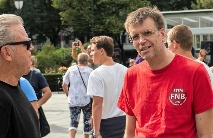 De siste måneders meningsmålinger viser at Bjørn Revil og minst ytterligere tre FNB-kandidater kan få plass i Oslo bystyre etter valget. Forutsatt at målingene speiler valgresultatet. Foto: Morten Lauveng Jørgensen