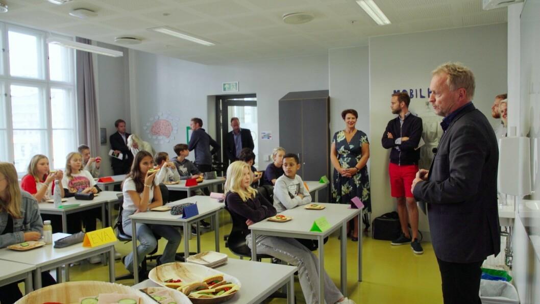 På Majorstuen skole er det for tiden et forsøksprosjekt med mat i skolen. Foto: Oslo AP