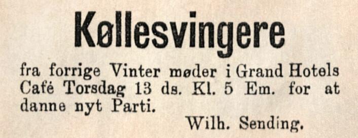 Hvor ble det av Køllesvingerpartiet? Aftenposten, 1884