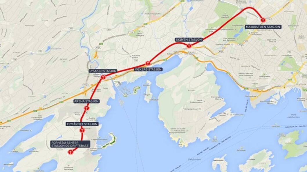 Fornebubanen innebærer seks nye stasjoner, tre i Oslo og tre i Bærum. Tegning: Klimaetaten