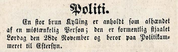 En stor brun Kylling er anholdt som afhændet af en mistænkelig Person; den er formentlig stjaalet Lørdag den 28de November og beror paa Politikammeret til Eftersyn.<br />Aftenposten, 1868