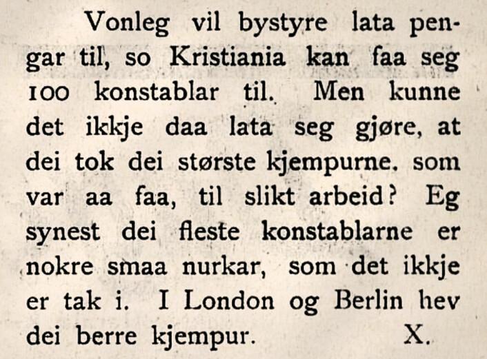 Tidlig forslag til politireform. Leserinnlegg til hovedstadens nynorskavis Den 17de Mai, 1898