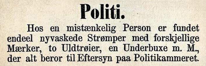 Også utenfor Oslo slo politiet hardt ned på uregelmessigheter. Bergens Tidende, 1873
