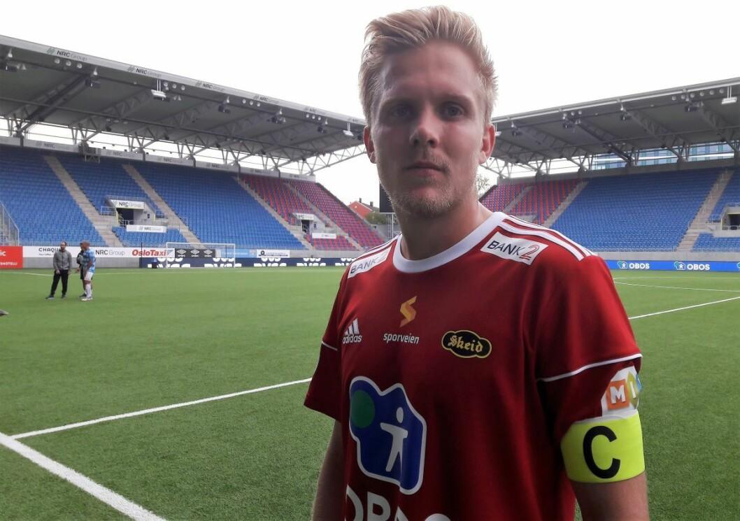 Skeids kaptein Tom Skogsrud, uten sminke og uten smil etter kampen mot Konsvinger. 0-2 var ikke det han ønsket seg. Foto: Anders Høilund