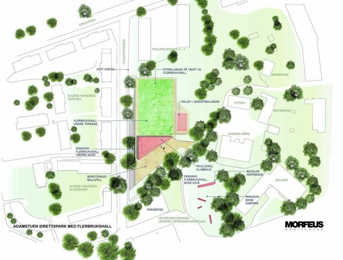 Slik mener Høyre den underjordiske flerbrukshallen (det grønne feltet) kan plasseres på Veterinærhøyskoletomta. Illustrasjon: Morfeus Arkitekter / Oslo Høyre