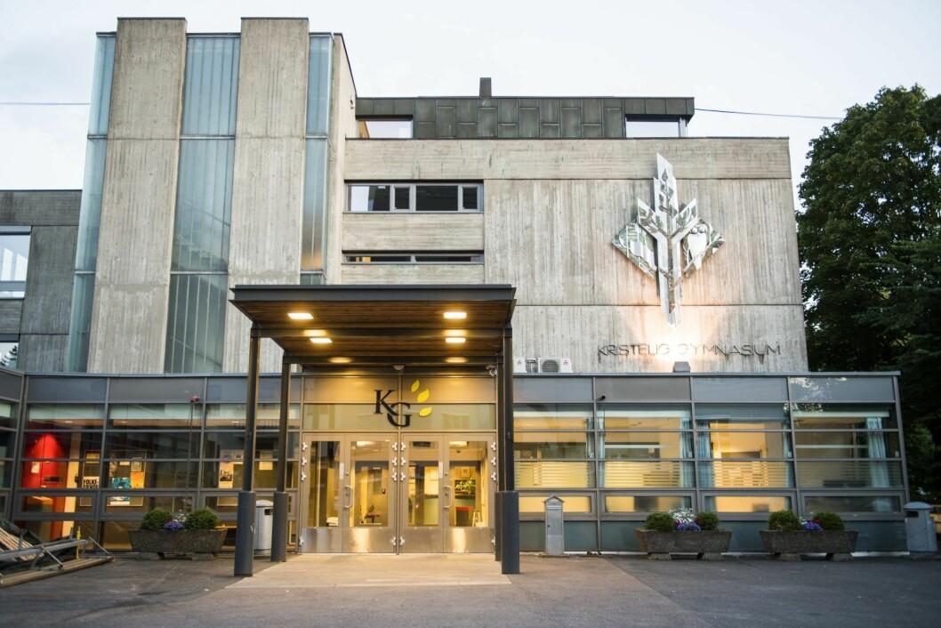 Artikkelforfatter og førstkandidat for KrF i Oslo, Espen Andreas Hasle, frykter for fremtiden til Kristelig Gymnasium (bildet) og en rekke andre friskoler under fortsatt rødgrønt styre i hovedstaden. Foto: Jon Olav Nesvold / NTB scanpix
