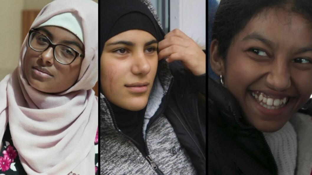 Zahra, Nora og Nilani fra Tøyen er hovedpersoner i NRK super serien Sjuende. Foto: NRK