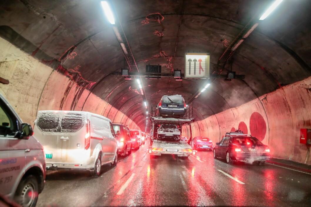 Festningstunnelen blir i ett år framover stengt i ett løp om natten. Årsaken er rehabilitering. Foto: Håkon Mosvold Larsen / NTB scanpix