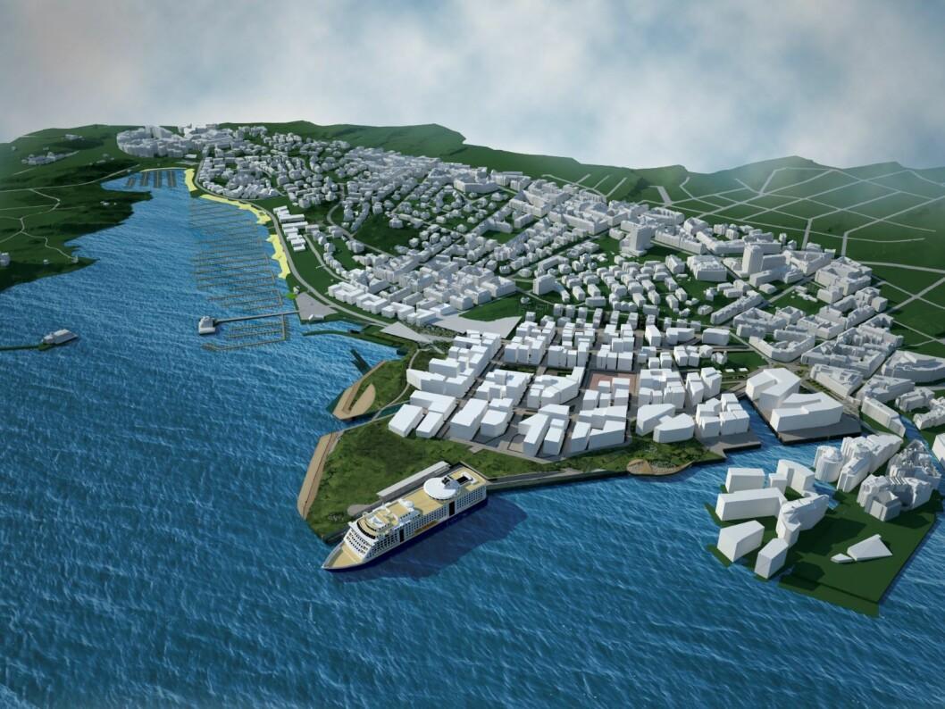 Filipstad Plansmie har kommet med et alternativt og grønnere forslag til Filipstad. Illustrasjon: Plansmia