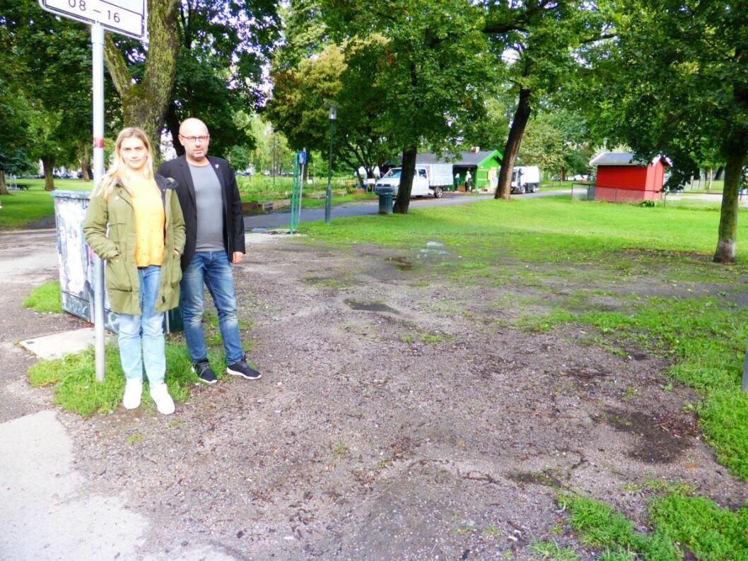 Jane Vogt Evensen (SV) og Arild Sverstad Haug (SV) ved siden av et område i Sofienbergparken som skulle vært dekket av gress. Foto: