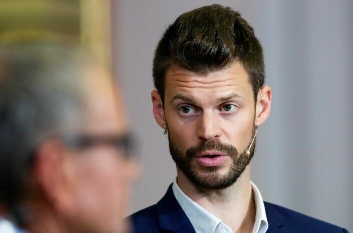 Bjørnar Moxnes under partilederdebatten natt til i dag. Rødt-lederen avviser kategorisk en hver invitt til å sitte i byråd med Ap, SV og MDG i Oslo. Foto: Terje Bendiksby / NTB scanpix