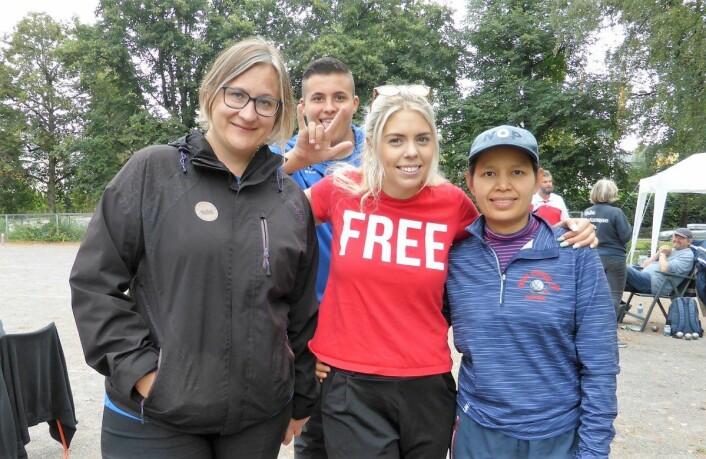Spillere med internasjonale meritter. Fra venstre Eli Gjengstø, Charlotte Jayer og Ranu Homniam, som kan vise til bronse i EM i 2014. Foto: Åsmund Berge