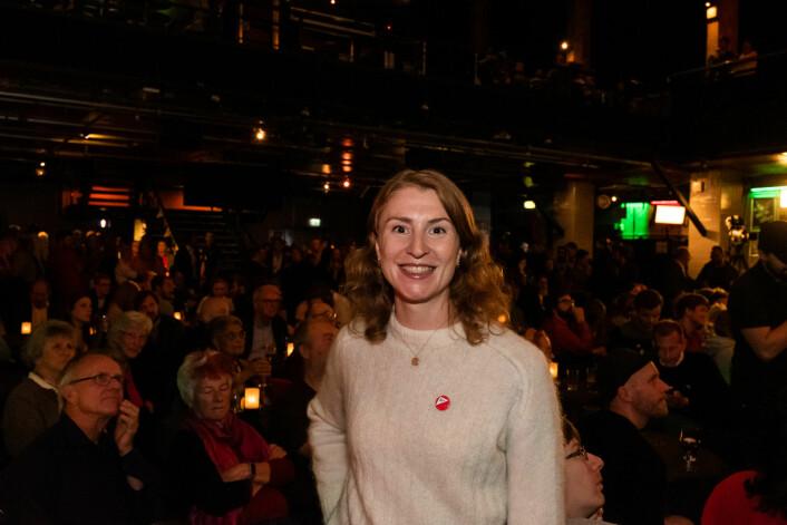 SV får for første gang representasjon i alle bydelene i Oslo. Her: Oslo SV-leder Sunniva Holmås Eidsvoll fra valgvaken. Foto: Erik Holland Haukebø