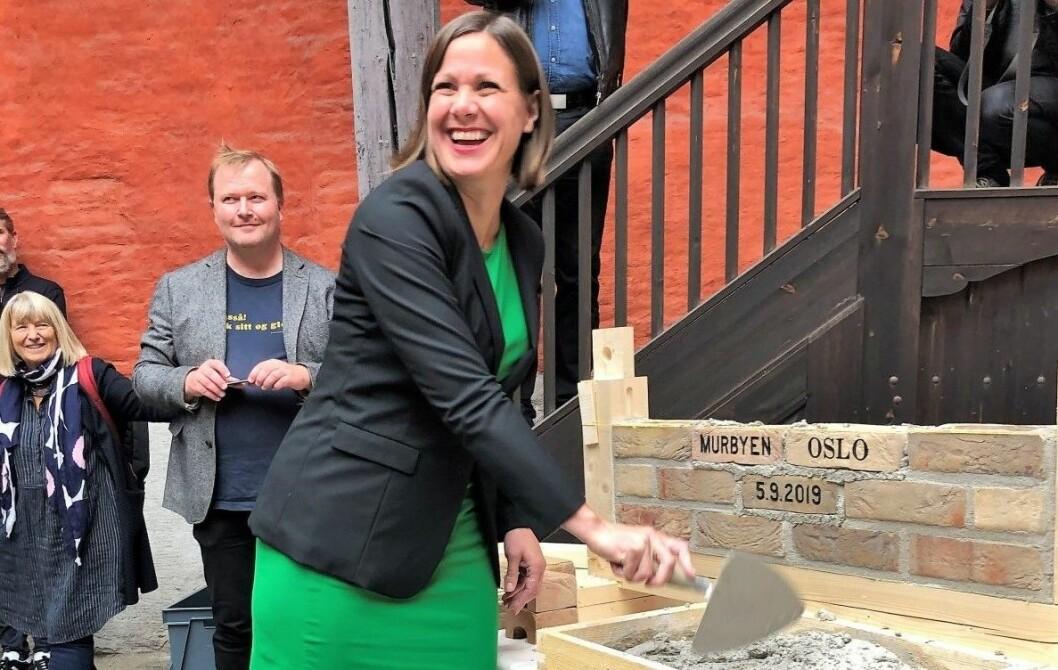Byutviklingsbyråd Hanna E. Marcussen (MDG) kunne torsdag i forrige uke åpne Murbyen Oslo i Rådhusgata. Foto: Beate Svenningsen
