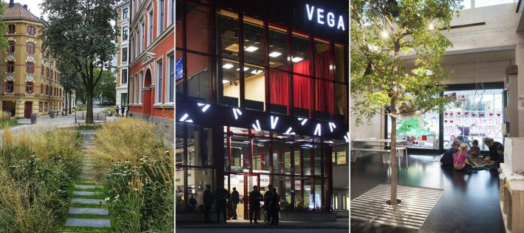 Oslo bys arkitekturpris 2019. En collage av finalistene. Foto: (fra v.) Janicke Ramfjord Egeberg, Åse Holte og Finn Ståle Felberg