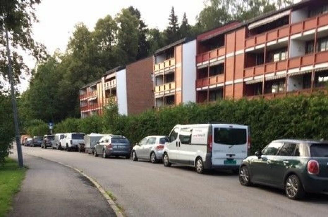 I Lunden foreslår bymiljøetaten at parkeringen flyttes over til den andre siden av gaten, som har færre parkeringsplasser. Foto:  Jan Ivar Pettersen