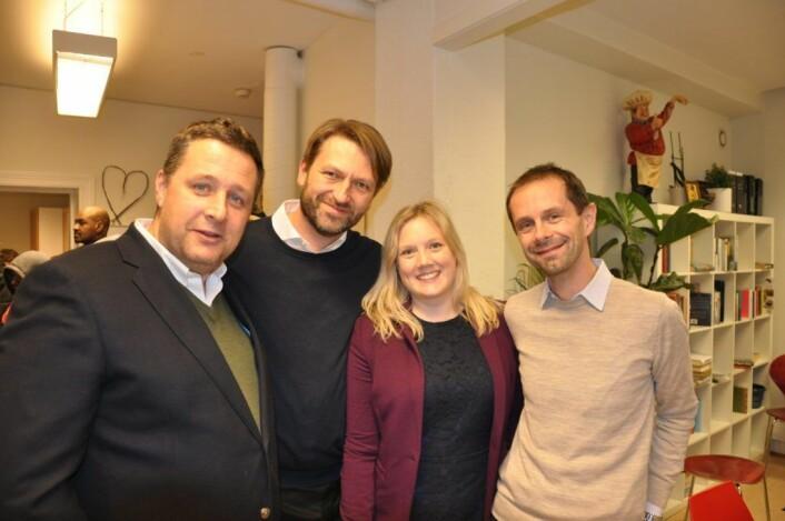 De fire som utgjorde et borgerlig byrådsalternativ før valget: Espen Andreas Hasle (KrF), Eirik Lae Solberg (H), Aina Stenersen (Frp) og Hallstein Bjercke (V) før valget. Men nå ser både KrF og Venstre til MDG. Foto: Arnsten Linstad