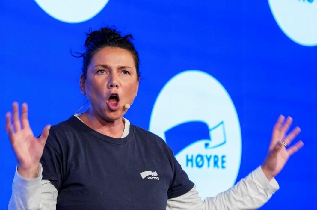 Leder i Oslo Høyre Heidi Nordby Lunde under valgvaken til Høyre på Clarion Hotel Oslo. Nå vil Oslo Høyre undersøke grunnlaget for et byrådssamarbeid med MDG og sentrumspartiene. Foto: Heiko Junge / NTB scanpix