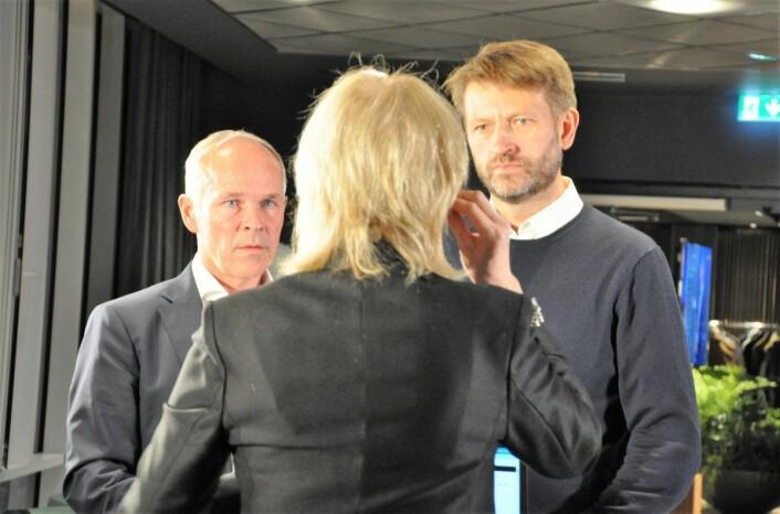 Eirik Lae Solberg og Jan Tore Sanner intervjues av NRKs Lisbet Skei under Høyres valgvake i Oslo. Foto: Arnsten Linstad