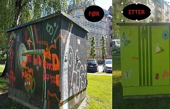 Klosterengas Venner fikk Gamlebyen barneskole og Jordal Ungdomsskole til å dekorere trafoboksene på Klosterenga