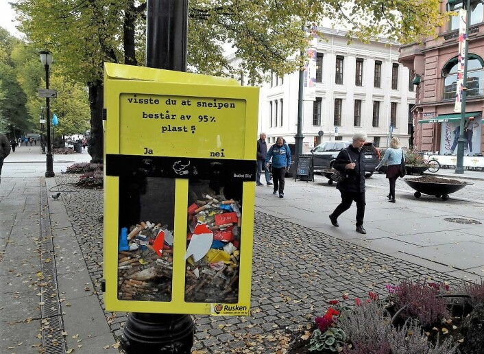 Sneipen bidrar bidrar til plastforsøplingen i byen. Foto: Anders Høilund