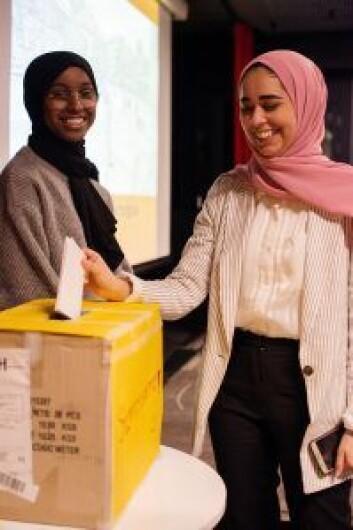 Stemmeboks for hvilke prosjekter som skal prege Kolstadgata i tiden fremover. Foto: Oda Berby