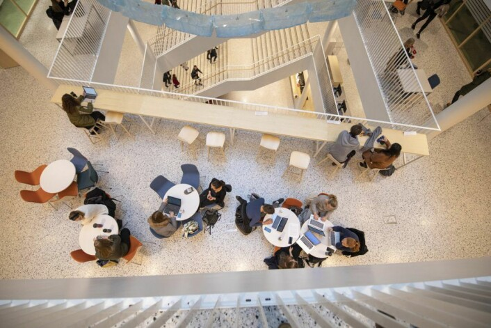 Domus Juridica er et bygg som innbyr til dialog og kommunikasjon. Foto: Olav Helland