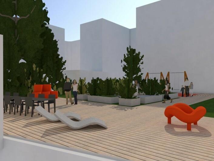 Illustrasjonsbilde av deler av det nye utearealet som beboere i Oscars gate 8 har fått Grønne midler-penger til å lage. Illustrasjon: Oscars Gate 8
