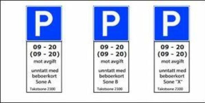 """Slik ser de nye beboerparkeringsskiltene ut. Ordningen vil gjelde fra 09-20 på hverdager og fra 09-20 på lørdager. """"Sone A"""" er Bydel Frogner, og disse skiltene dukker opp i bydelens gater veldig snart."""