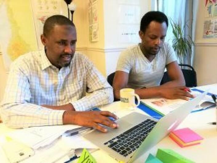 Yusuf fra Somalia og Yohanes fra Eritrea. Foto: Privat