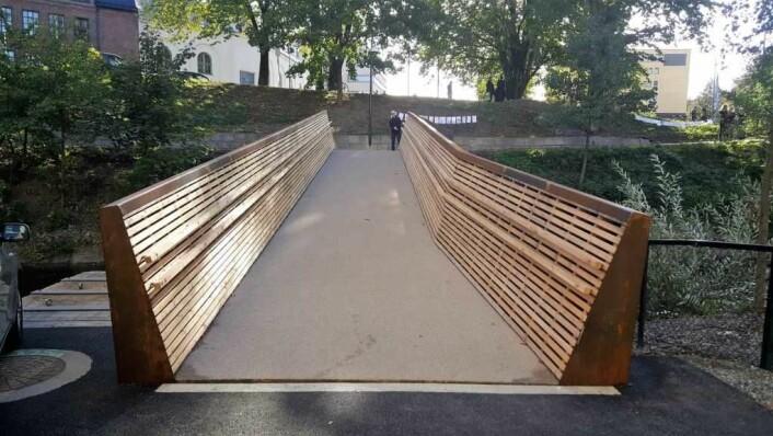 Sundtbroa åpner for eksempel en ny og enklere rute fra vest til øst for studentene på Westerdals i Christian Krohgs gate. Her ser vi broa fra vestsiden.