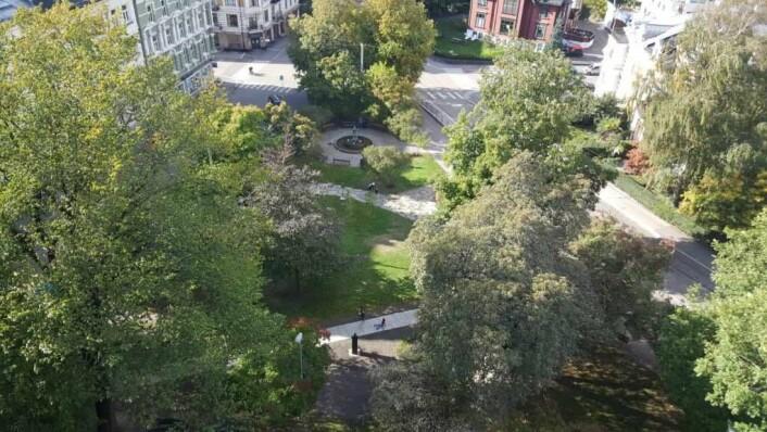 Fra Bydelens hus ser man ut på tidligere Skillebekkparken, som har blitt satt i stand som Olaf Bulls plass.