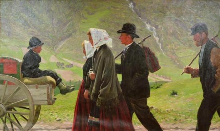 Utvandrere fra Vågå i 1902. Maleri: Gustav Wentzel / Wikipedia