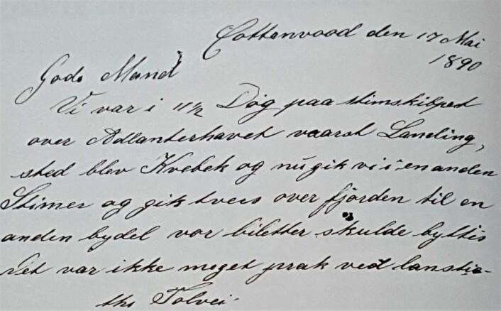 Dette brevet fra 1890 er det første Edvard N. Svee i Minnesota sendte hjem til slekten Leksvik.
