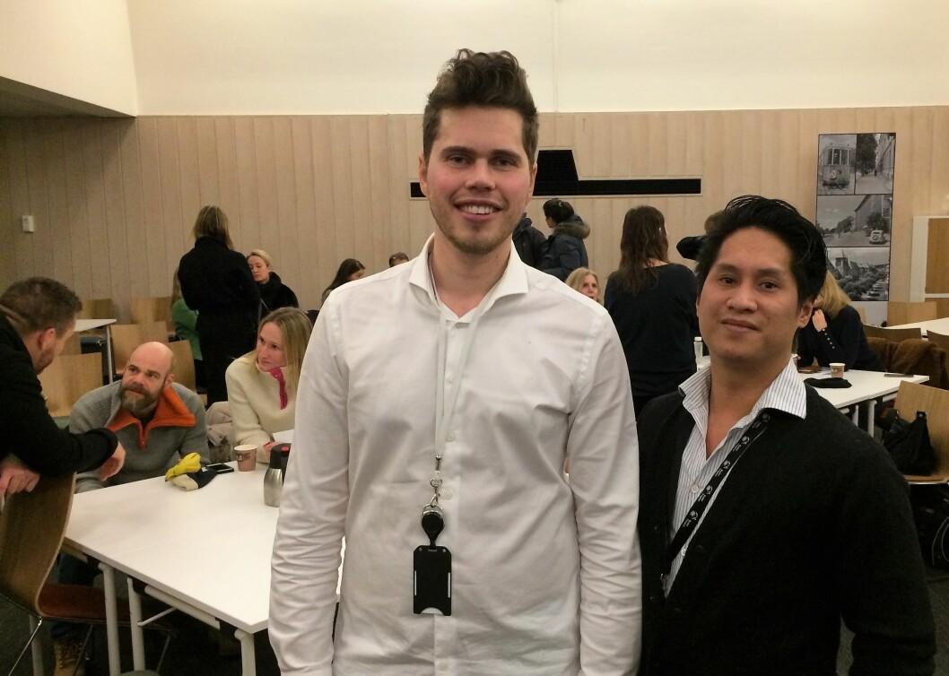 Utekontakt Ivan Daniloff (til v.) og Joachim Nymann fra Ung Arena, stilte på møte i Bydel Frogner for å fortelle om ungdomsarbeidet i bydelen.