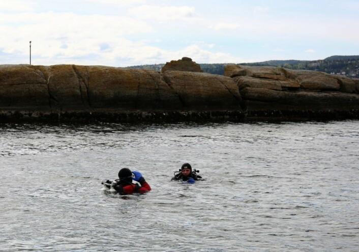 Dykkere fra Drøbak Undervannsklubb ryddet strandområdet under vann. Foto: Rusken