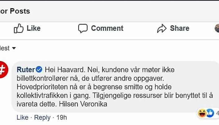 På Ruters egne Facebook-sider får brukerne beskjed om at alle billettkontroller er innstilt.