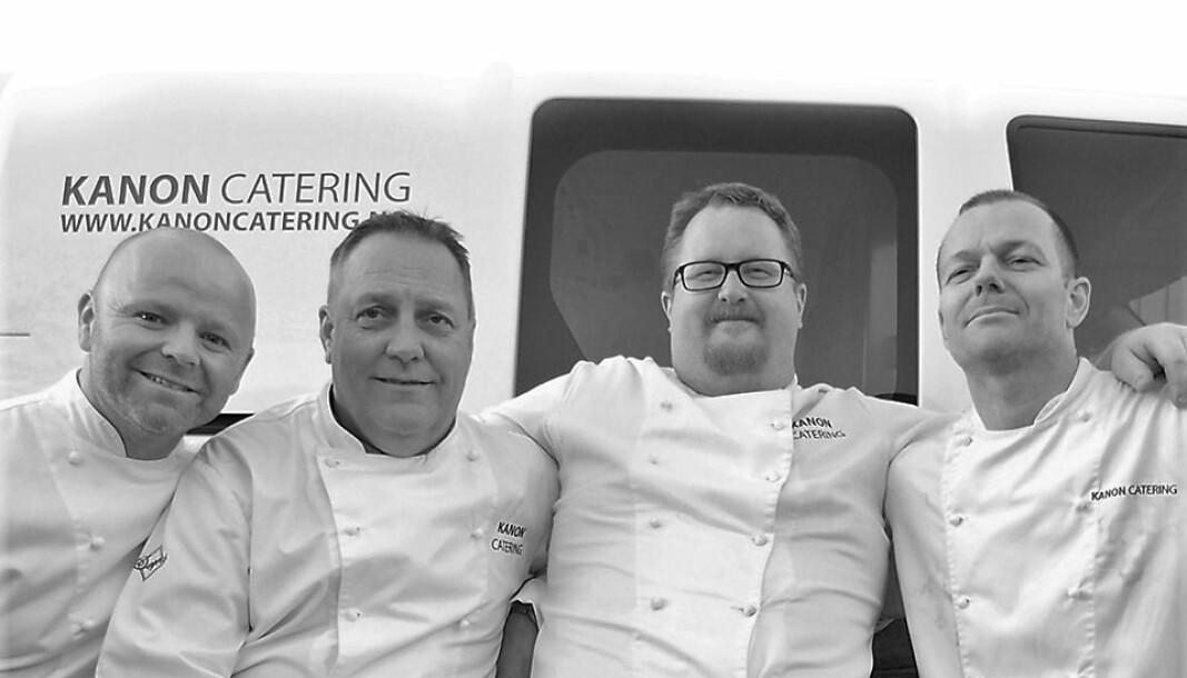 Erling Sundal, Stein Sneve Olsen, Kristian Grøen og Ole Vesteng er kokkene hos Kanon Catering som lager maten ,