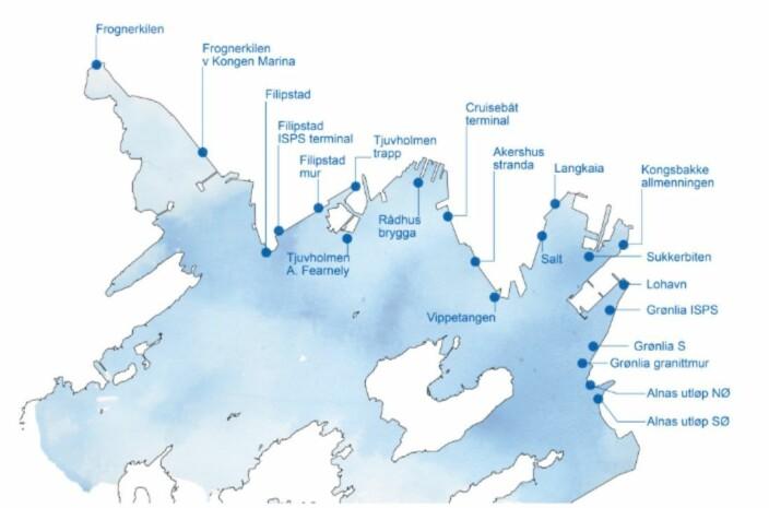 Kartet, hentet fra rapporten, viser de 21 stedene som ble undersøkt med Dory på feltbefaringen 4. oktober 2019. Figur: Elin T. Sørensen/NMBU 2019 © BONO).
