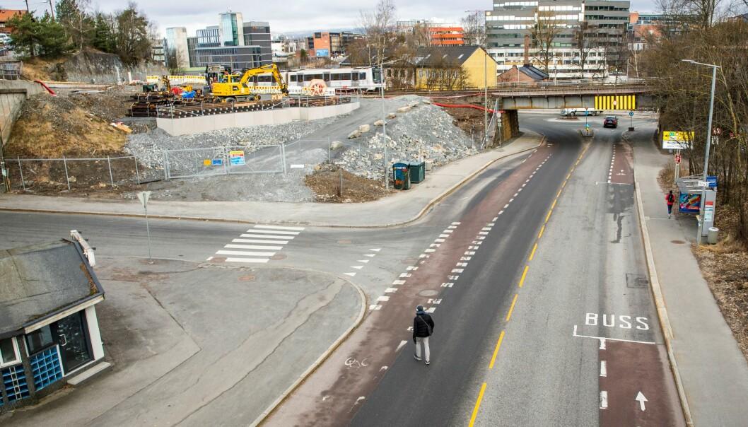 Dette bildet er tatt onsdag kl 08.48. På dette tidspunktet ville det vanligvis vært travel rushtid på Bryn i Oslo.