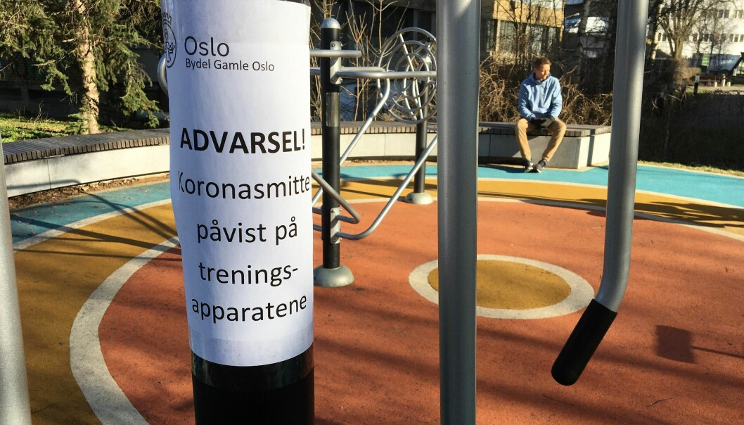 Falske advarsler om funn av koronavirus på leke- og treningsapparater har de siste dagene dukket opp i bydel Gamle Oslo.