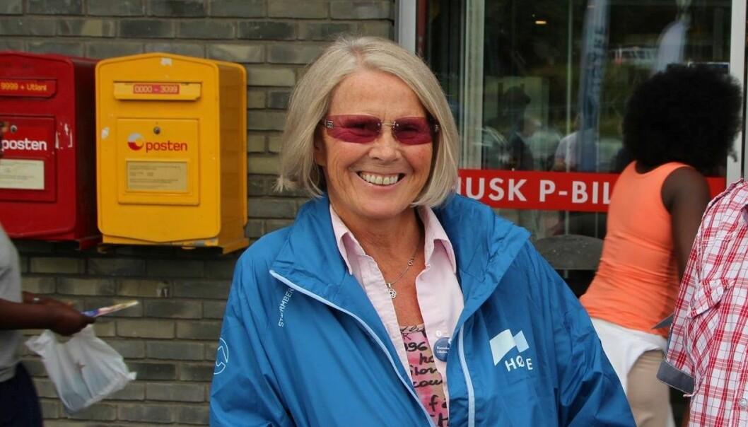 Grete Horntvedt på stand for Høyre under valgkampen i fjor.