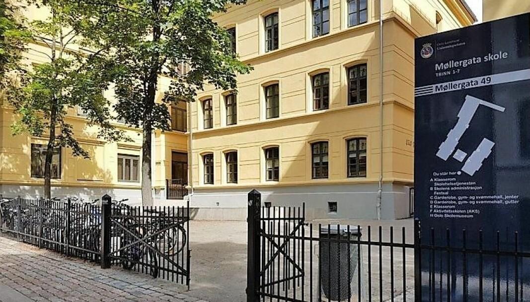 Møllergata skole er en av byens skoler som nyter godt av framskyndet vedlikehold under koronautbruddet.