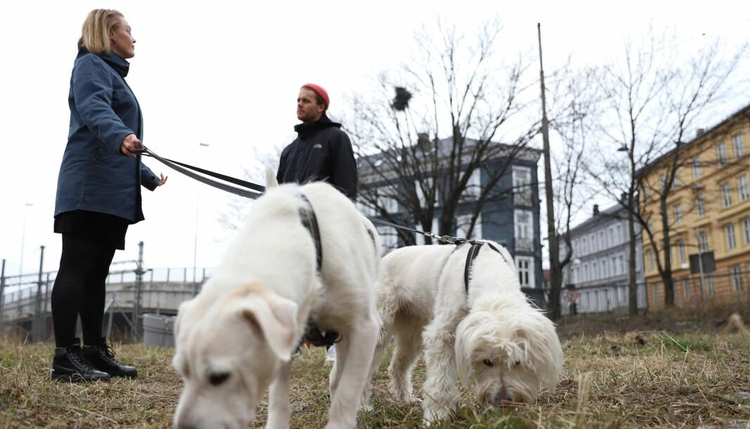 Marianne Melgaard med hundene Luca og Tilly sammen med nabo Sigurd Arntzen blir nærmeste naboer til hundeparken. — Det er ikke mer enn 14 meter fra huset vårt til parken, sier Melgaard