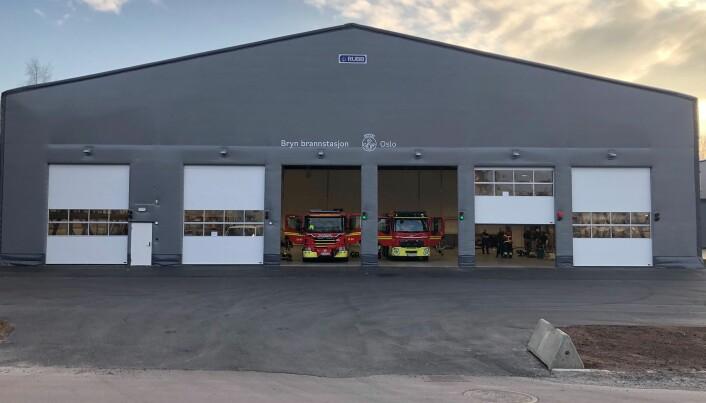 Fra disse midlertidige lokalene på Eikenga skal brannfolkene fra Bryn brannstasjon rykke ut de neste årene.
