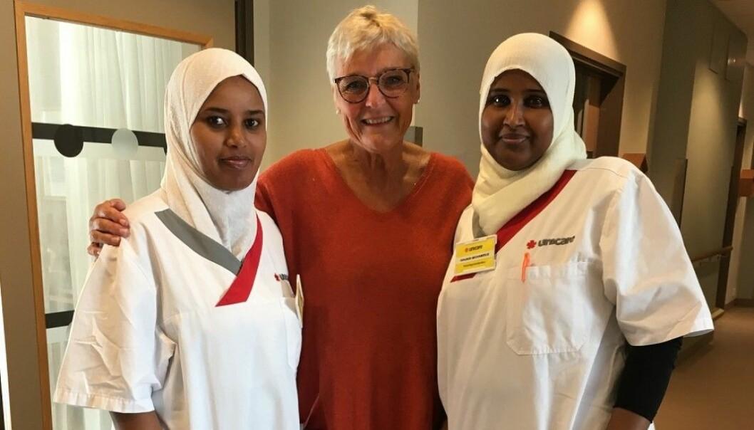 Rawda Mohammed Seid, faglærer og veileder, Målfrid Finnekåsa og Shukri Mahamed Mohamoud