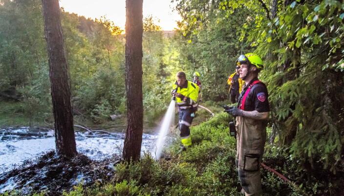 En stor skogbrann krever mye ressurser for å slukkes. Her fra en brann ved Haraldrud trafikkstasjon i 2018.