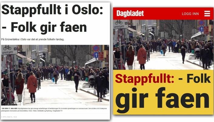Slik så det ut på forsiden til Dagbladet lørdag.