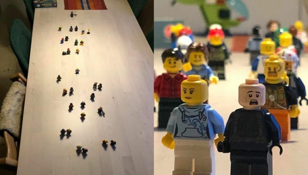 Til venstre viser Jenny Skavdal med Lego-menn hennes inntrykk av folkelivet langs Markveien. Til høyre viser hun hvordan dette kan se ut fotografer med zoom forfra.